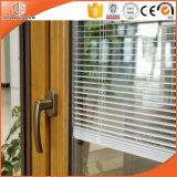 Porta francesa exterior com as cortinas ambientais Integrated, porta articulada da ruptura da madeira contínua alumínio térmico folheado