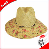 Chapéu flexível de Sun da palha do Raffia da impressão
