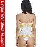 Biancheria più bustier sexy del corsetto di Overbust del testo fisso dell'increspatura della maglia di stirata dell'innamorato delle donne