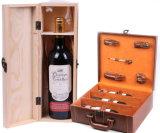Rectángulo de madera ensamblado creativo del vino rojo con la maneta de la cuerda