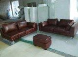 Sofá de couro de Canadá, sofá secional, mobília da sala de visitas (A07)