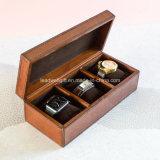 Caixa de relógio de couro pequena Handcrafted do caso do armazenamento da caixa de jóia