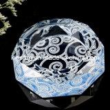 Gravierter Kristalltabellen-Aschenbecher u. Glas-Zigarre-Aschenbecher (KS13051)