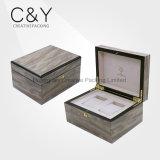 Rectángulo de empaquetado del regalo de madera de encargo para 2 relojes