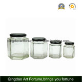 Hexagone Glass Jars pour Food et Honey avec Metal Cap