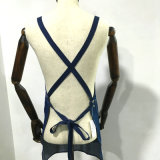Parte traseira azul unisex da cruz do avental de Barista da sarja de Nimes
