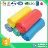 Bolso de basura reutilizable colorido de la basura del HDPE