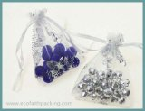 De blauwe Zak van de Juwelen van de Gift Organza met de Druk van de Bloem