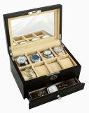 Glanzende de okkernoot beëindigt de Houten Doos van de Gift van de Vertoning van de Inzameling van het Horloge