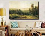 キャンバス、マツ森林の朝の100%Handmade油絵