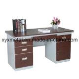 El doble profesional echa a un lado escritorio de oficina bloqueable del marco de acero de los cajones