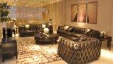 Couro de grão superior para a sala de visitas, jogo luxuoso do sofá da casa de campo