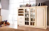 Hochwertiger PVC+MDF Küche-Schrank mit der Tür-Planke-Formung (zc-077)