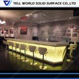 現代様式Uの形の大理石の石の喫茶店LEDの喫茶店の販売のための商業レストラン棒カウンター