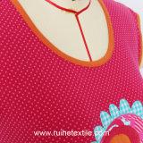 Chemisier sans manche de Knit de broderie de mode, T-shirt de coton pour des dames