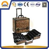 Caisse cosmétique en aluminium de chariot professionnel à renivellement (HB-3302)