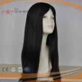 Peluca superior de seda recta larga estupenda del color oscuro