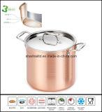 銅の覆われた深いスープ鍋