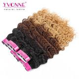 新製品のOmbreカラー深い波のペルーの人間の毛髪の織り方