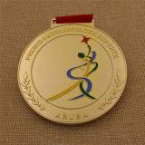 Médaille de bonne qualité faite sur commande de gymnastique d'or avec la lanière de sublimation