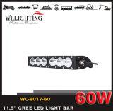 """Barra chiara Wl-8017-60 (LED-LIGHT-BAR) del singolo di riga 11.5 """" 60W del fascio 4X4 punto fuori strada combinato del CREE LED"""