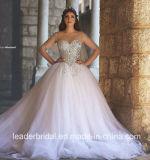 De gezwollen Arabische Bruids Kleding Ar2017 van het Huwelijk van het Kristal van de Kokers van Tulle van de Toga van de Bal Zuivere