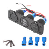 Auto 12V 2 USB Cigarette Lighter Sockets Adapter Charger With Digital LED Voltmeter