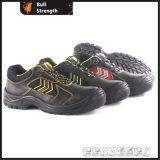 Cuero genuino zapato de seguridad industrial con el dedo del pie de acero y suela media (SN5378)