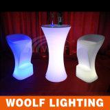Illuminazione ricaricabile della plastica LED sulla Tabella di cocktail rotonda del tavolino da salotto LED
