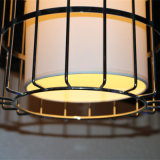 Lámpara pendiente del hotel del restaurante de la jaula de acero moderna de Satinless