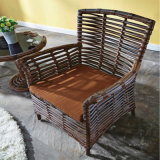 余暇の家具の屋外の藤の薄茶のダイニングテーブルおよび椅子