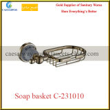 Cesta dourada do sabão dos acessórios sanitários do banheiro dos mercadorias