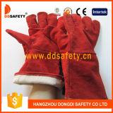 Красная перчатка Dlw625 Weder Split кожи коровы