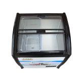 Deslizando o congelador de vidro de revestimento endurecido do gelado de portas dobro