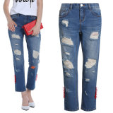 Pantalon de denim d'extension de coton de jeans de mode de dames d'OEM