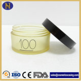 vaso crema glassato plastica 100g con coperchio bianco/nero