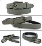 Belt della signora di cuoio Striolate grigia pura