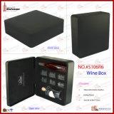 Boîte en cuir à vin d'unité centrale de trois bouteilles (5106R9)