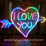 En forma de corazón LED de la señal de neón del LED decorativo suave de neón