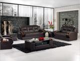 Sofá moderno do escritório do couro genuíno com madeira