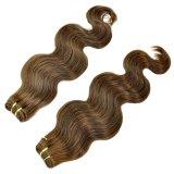 Trame ondulée de cheveux humains de corps de couleur de Brown