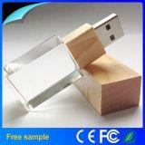 Movimentação de madeira de venda quente do flash do USB do cristal 2016 com 8GB