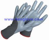 Вкладыш полиэфира 13 датчиков, покрытие нитрила, 3/4, приглаживает перчатки безопасности отделки