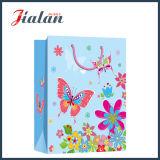 Saco de papel de compra do presente da borboleta do papel Ivory da forma & do portador das flores