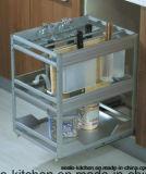 Gabinete de cozinha lustroso elevado do vidro Tempered