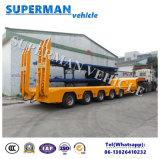 80t 5 remorque inférieure extensible de camion lourd de corps de l'essieu Lowbed/Lowdeck/semi
