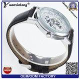 Relógio de esqueleto de quartzo do pulso do Mens do vintage o mais atrasado do projeto Yxl840 com cinta de couro