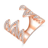 Anello di cristallo dei monili del dente di sega placcato oro d'argento per le donne (CRI1038)