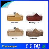 Mecanismo impulsor de madera de bambú del flash del USB del eslabón giratorio con el rectángulo del conjunto
