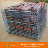 Dobradura & Stackable Wire Mesh Pallet Bin com o Wheels para Warehouse Storage